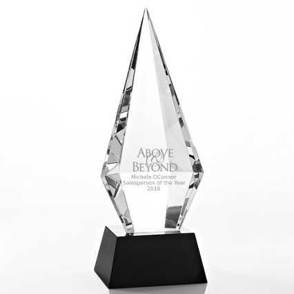 Beveled Diamond Crystal Award - Beveled Back