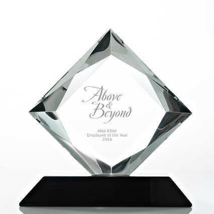 Beveled Diamond Crystal Award- Square Diamond