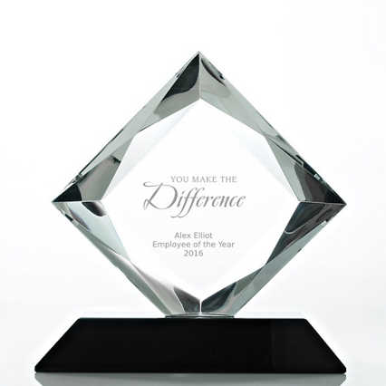 Beveled Diamond Crystal Award- Square Diamond