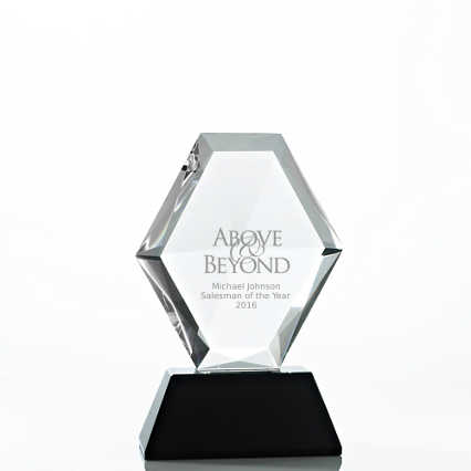 Beveled Diamond Crystal Award - Oval Diamond