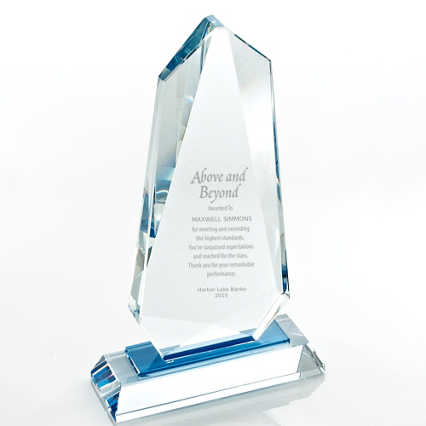 Sky Blue Accent Crystal Trophy - Tower