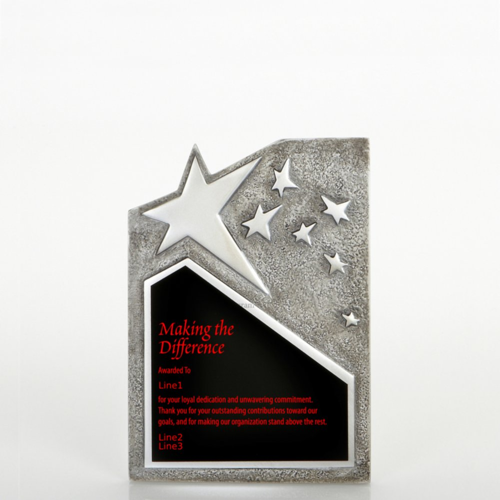 Resin Star Plaque - Silver - Small
