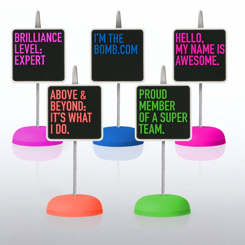 PVC Memo Clip Pack - Neon Smart Sayings