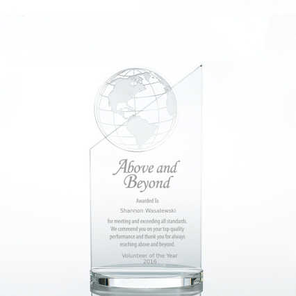 On Top of the World Crystal Trophy - Etched Globe