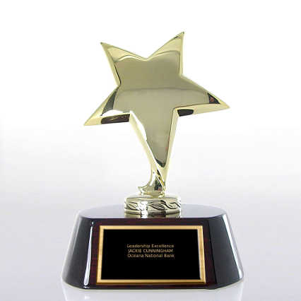 Shining Star Trophy - Wood Base with Gold Star
