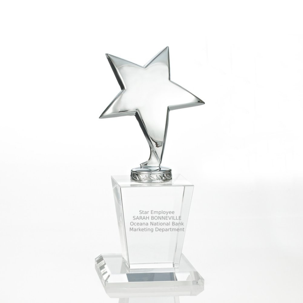 View larger image of Shining Star Trophy - Crystal Base with Silver Star