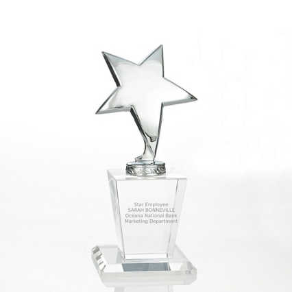 Shining Star Trophy - Crystal Base with Silver Star