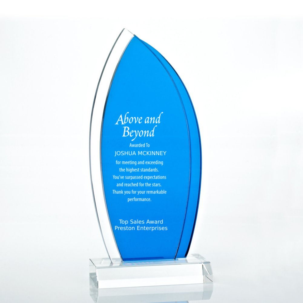 View larger image of Royal Blue Accented Double Pane Trophy - Sail