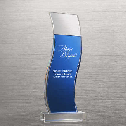 Royal Blue Accented Double Pane Trophy - Wave