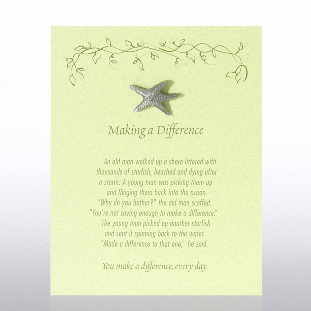 View larger image of Character Pin - Starfish: Making a Difference - Green Card