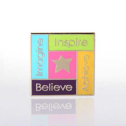 Lapel Pin - Imagine, Inspire, Achieve, Believe Star