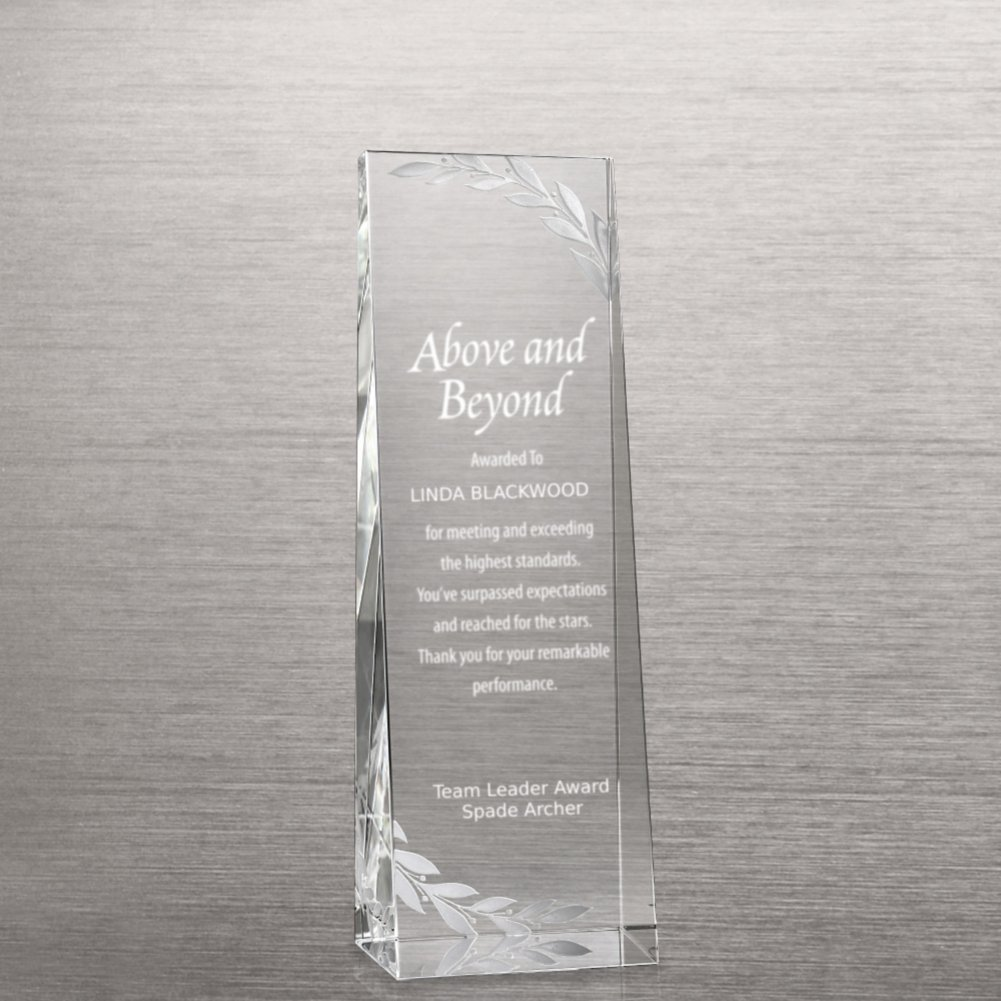 View larger image of Etched Crystalline Tower Trophy -  Silver Laurels