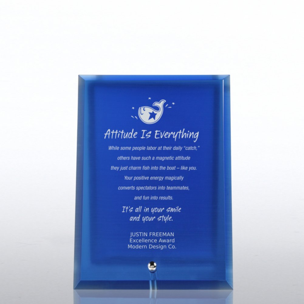 View larger image of Glass Award Character Plaque - Blue