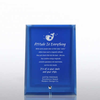 Glass Award Character Plaque - Blue
