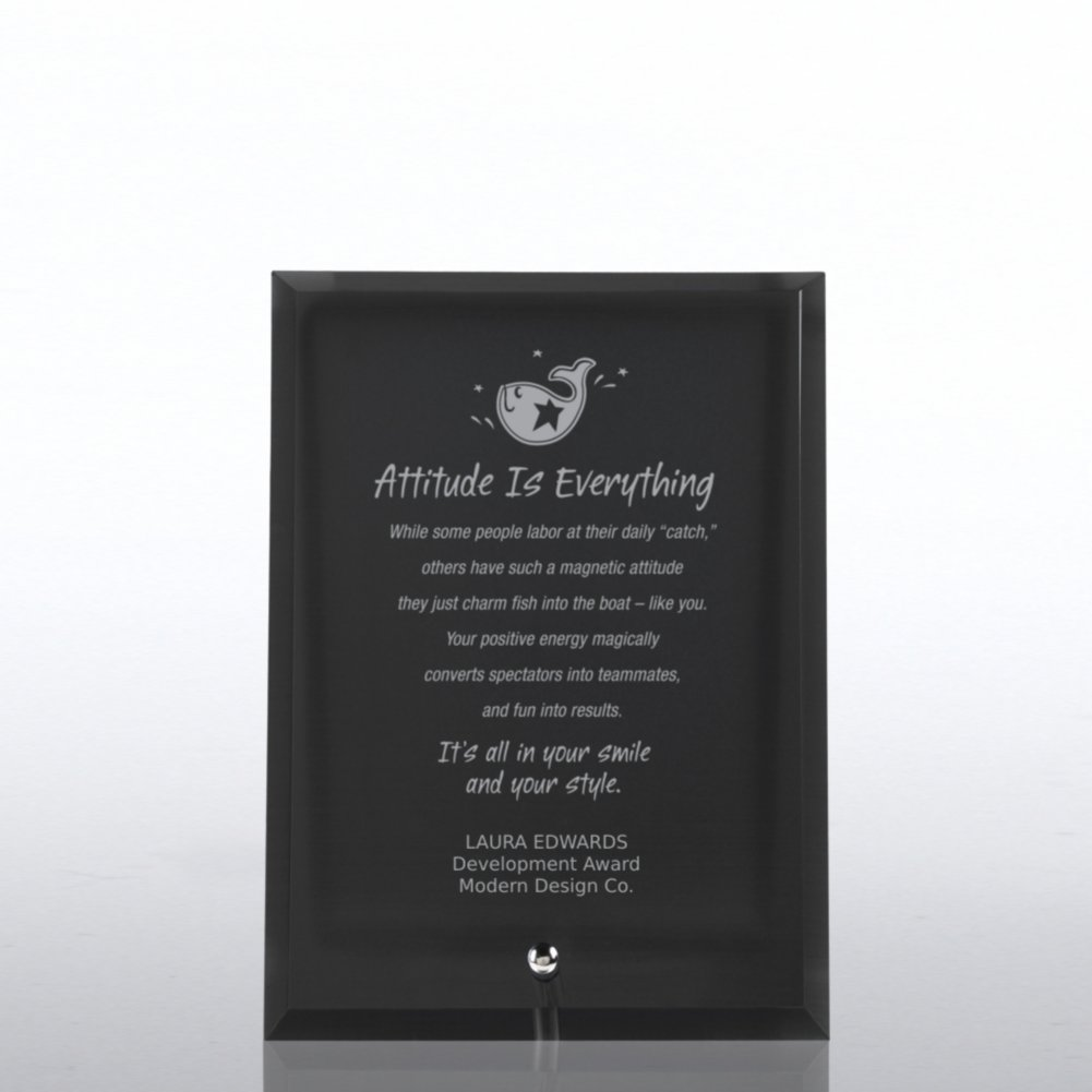 View larger image of Glass Award Character Plaque - Black