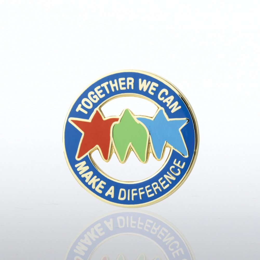 View larger image of Lapel Pin - Together We Can Make a Difference - Stars Round