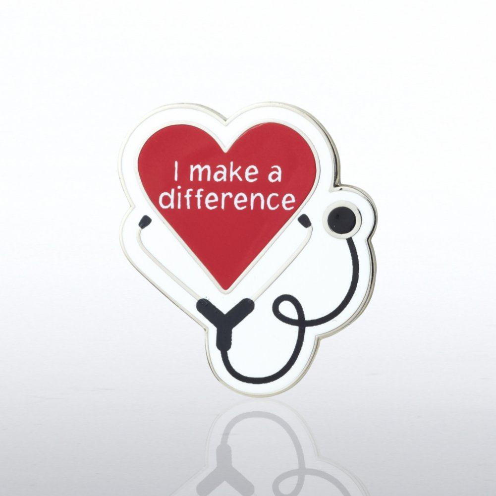 View larger image of Lapel Pin - Heart with Stethoscope