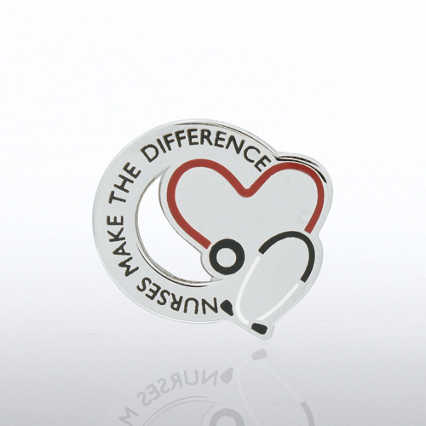 Lapel Pin - Nurses Make the Difference - Stethoscope
