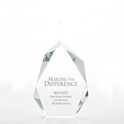 Executive Beveled Crystal Trophy - Peak - Small