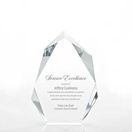 Executive Beveled Crystal Trophy - Peak - Medium