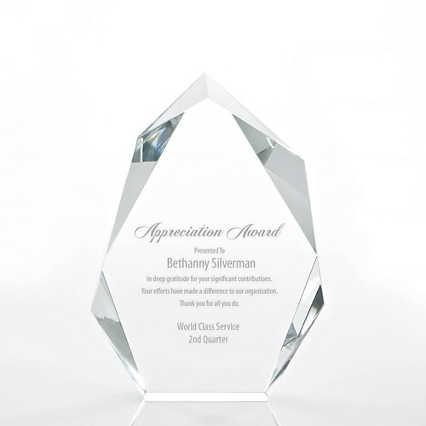 Executive Beveled Crystal Trophy - Peak