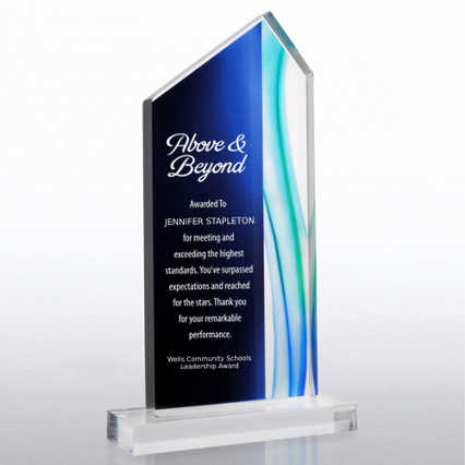 Acrylic Art Deco Trophy in Blue Wave