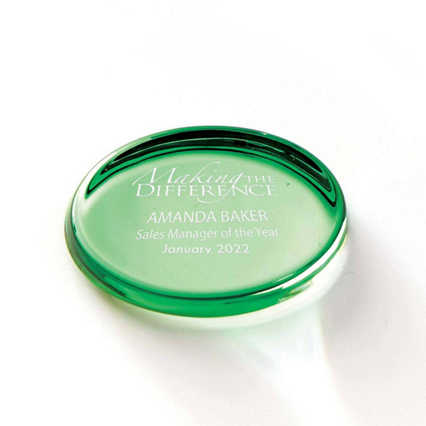 Color Brite Glass Paperweight - Green