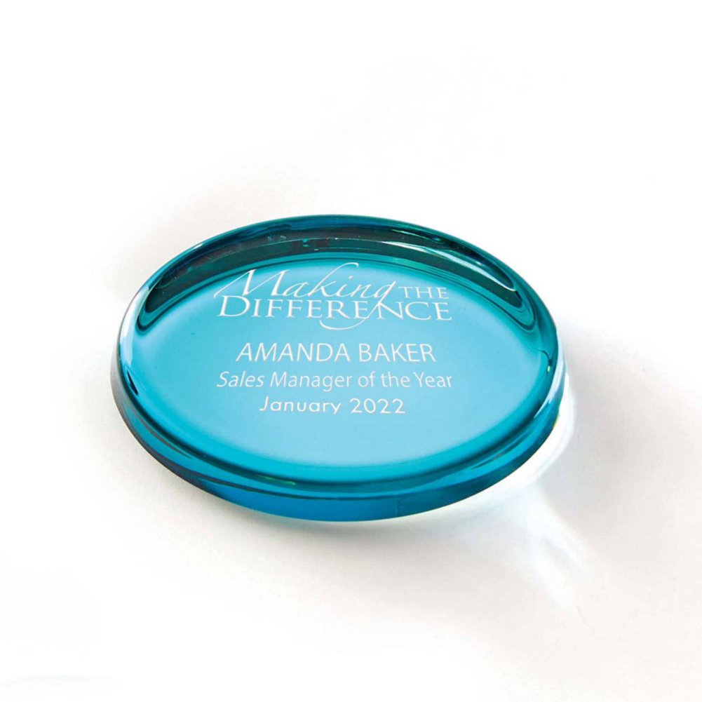 View larger image of Color Brite Glass Paperweight - Aqua