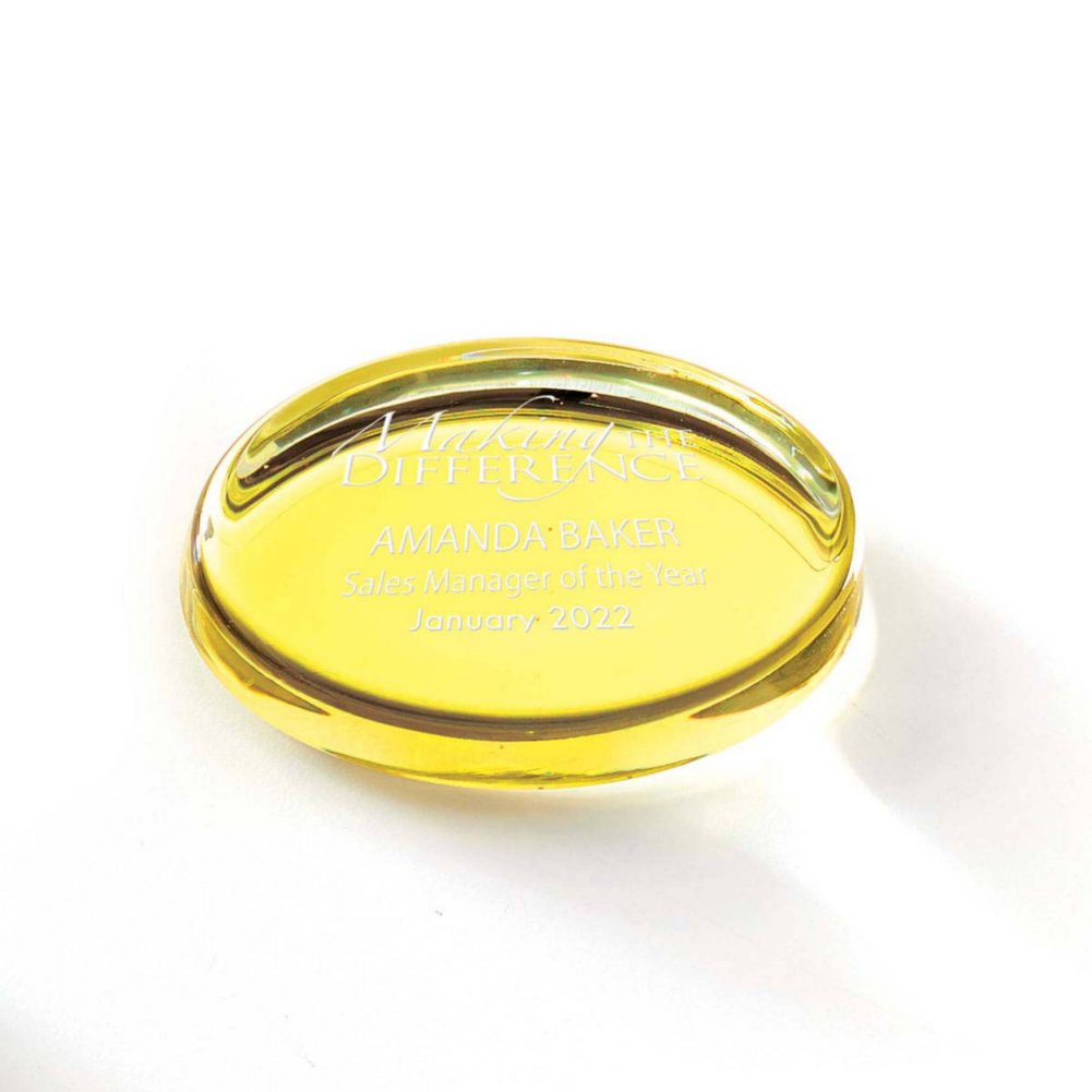 View larger image of Color Brite Glass Paperweight - Yellow