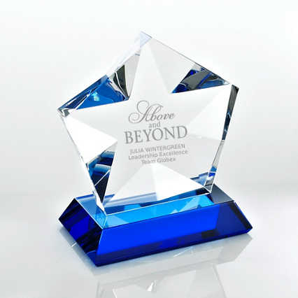 Blue Luminary Crystal Award - Star