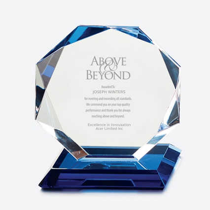 Blue Luminary Crystal Award - Octagon