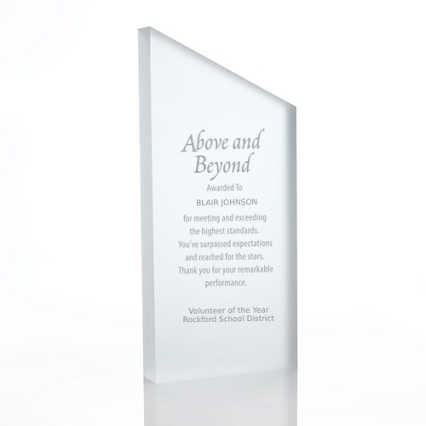 Frosted Acrylic Trophy - Slanted Rectangle