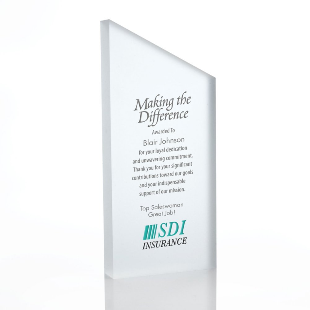 View larger image of Frosted Acrylic Trophy - Slanted Rectangle - Full Color