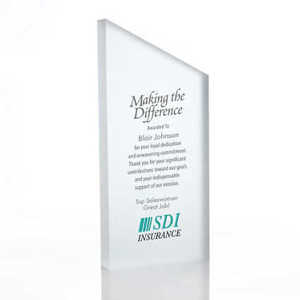 Frosted Acrylic Trophy - Slanted Rectangle - Full Color