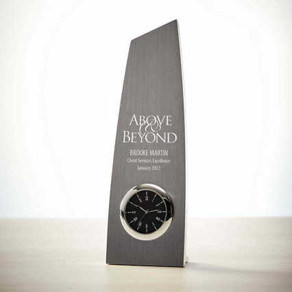 Towering Achievement Metal Clock Trophy