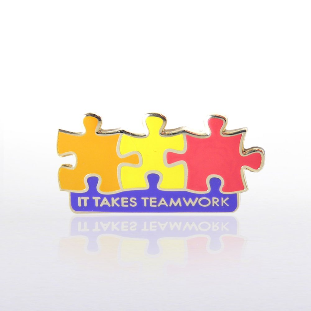 View larger image of Lapel Pin - It Takes Teamwork - Multi Color