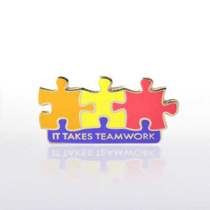 Lapel Pin - It Takes Teamwork - Multi Color