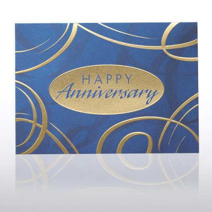 Grand Events - Anniversary Blue & Gold Swirls