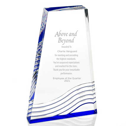Blue Reflection Acrylic Award - Tower