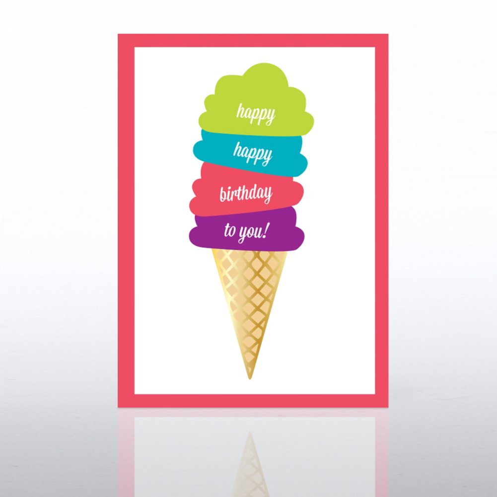 View larger image of Classic Celebrations Card - Happy Birthday Ice Cream Cone
