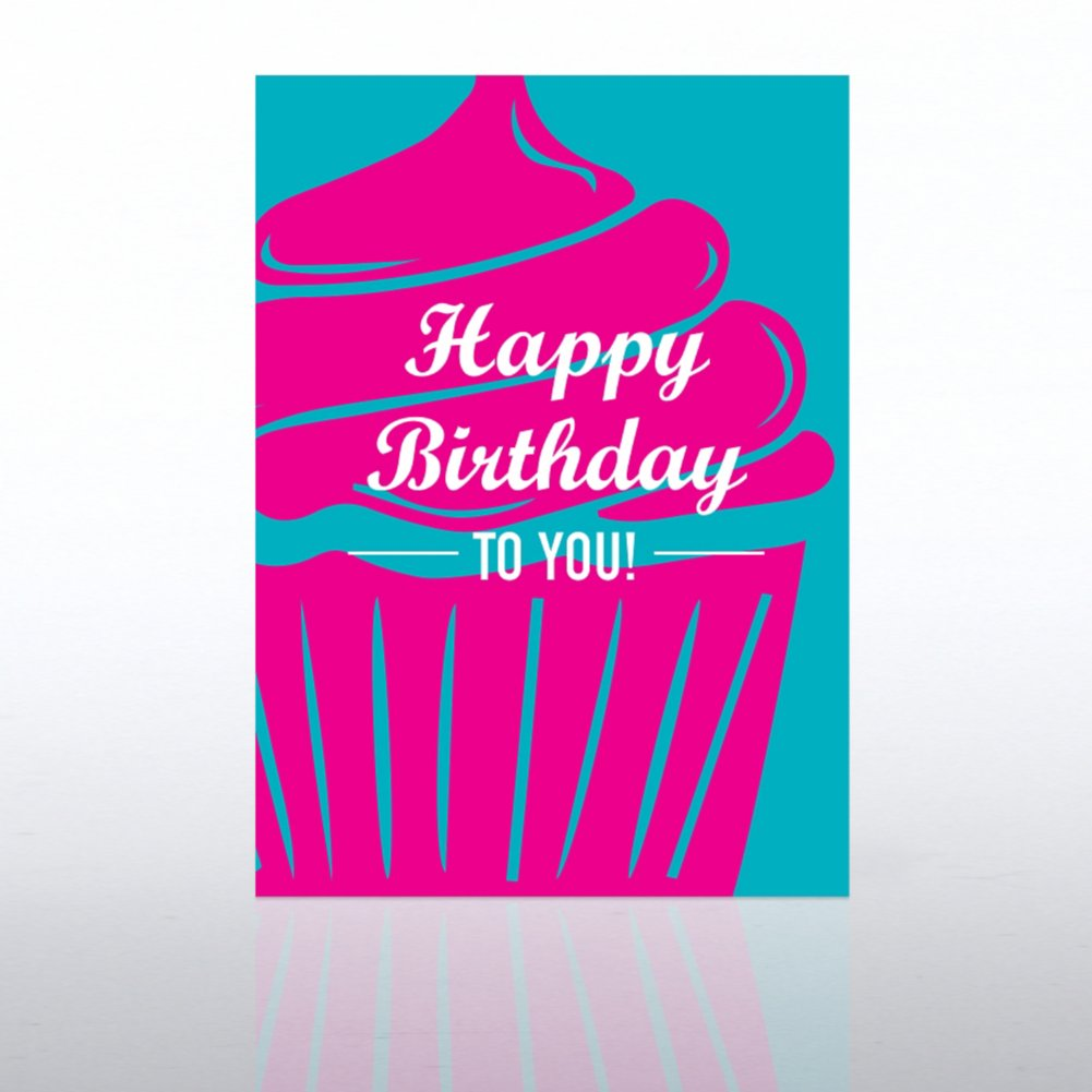 View larger image of Classic Celebrations Card - Happy Birthday Pink Cupcake