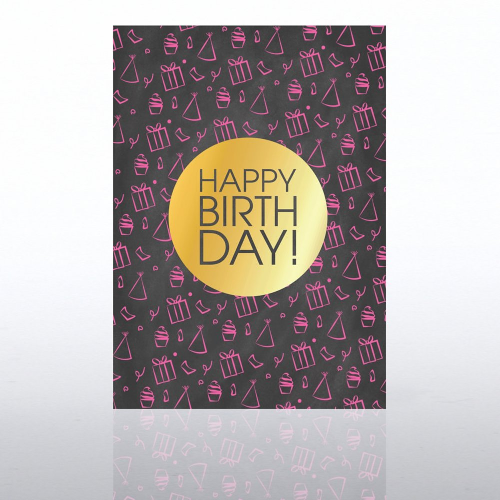 View larger image of Classic Celebrations Card- Chalkboard: Happy Birthday Icons