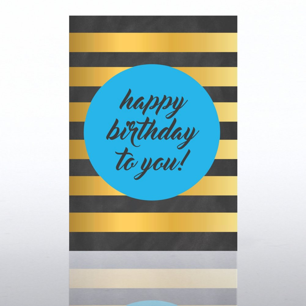 View larger image of Classic Celebrations Card-Chalkboard: Happy Birthday Stripes