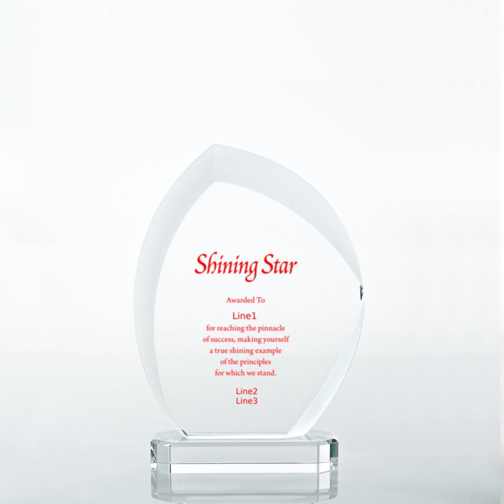 Beveled Edge Crystal Flame Trophy - Slanted Oval