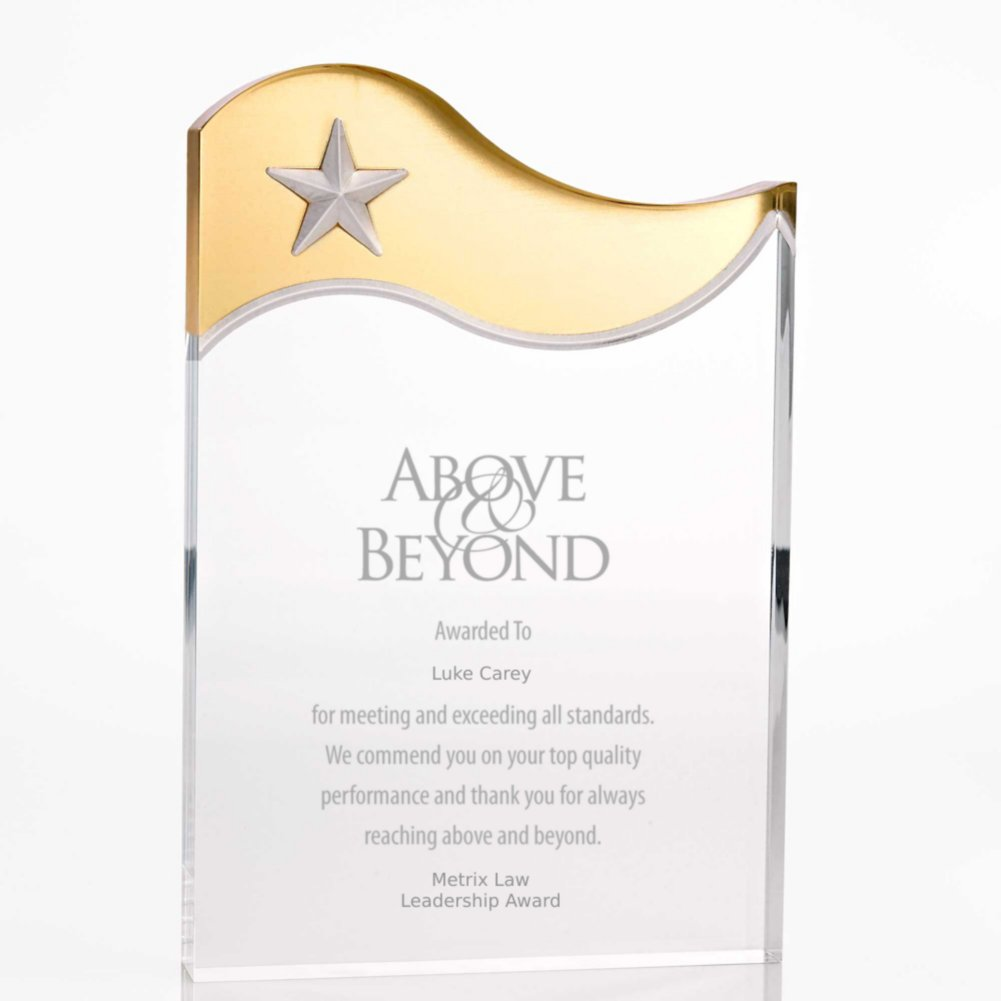 View larger image of Metallic Accent Acrylic Award - Gold Star