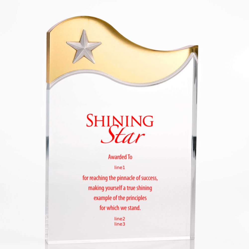 Metallic Accent Acrylic Award - Gold Star
