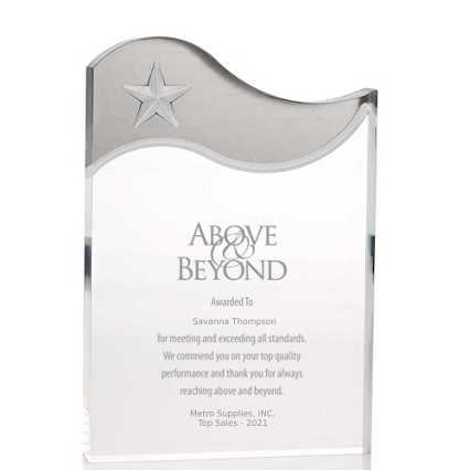 Metallic Accent Acrylic Award - Silver Star