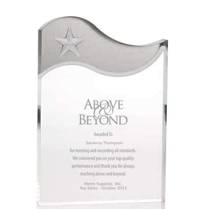 Metallic Accent Acrylic Award - Silver Star