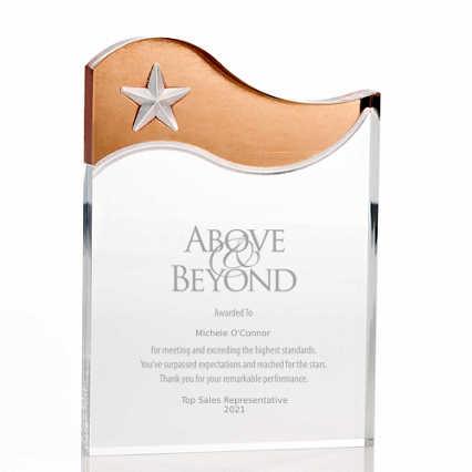 Metallic Accent Acrylic Award - Copper Star