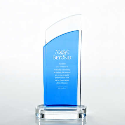 Crystal Light Blue Accent Trophy - Double Pane